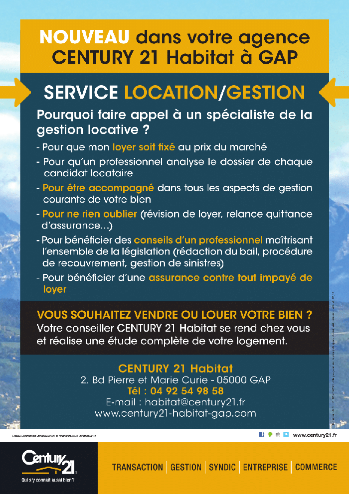 Century 21 Habitat à Gap GESTION LOCATION